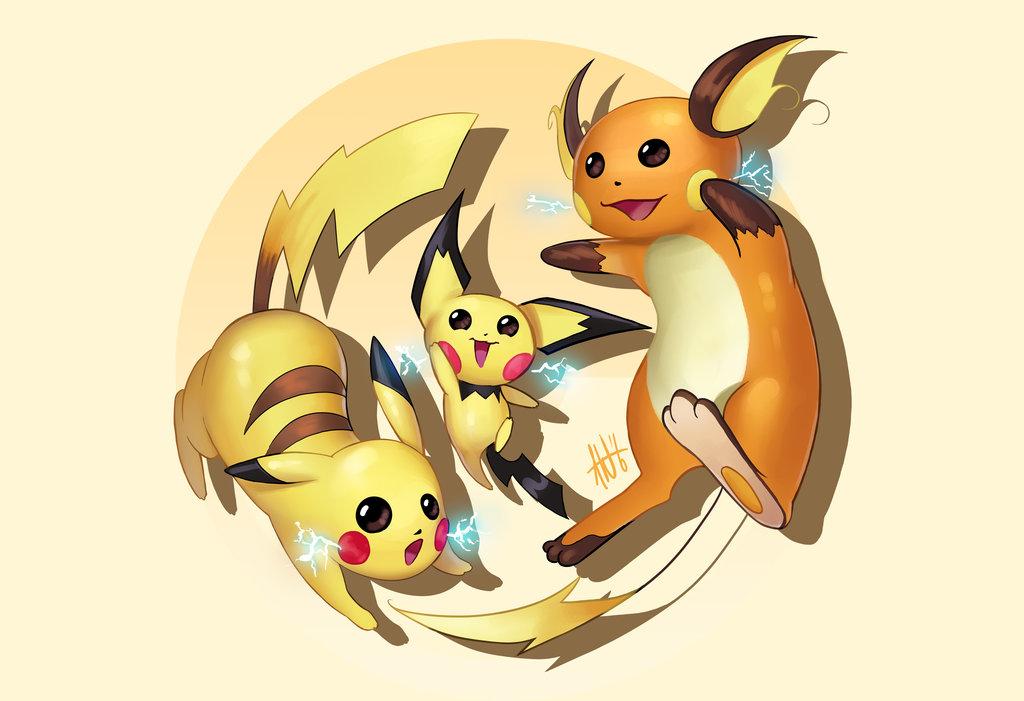 Shiny Pichu Pikachu Raichu